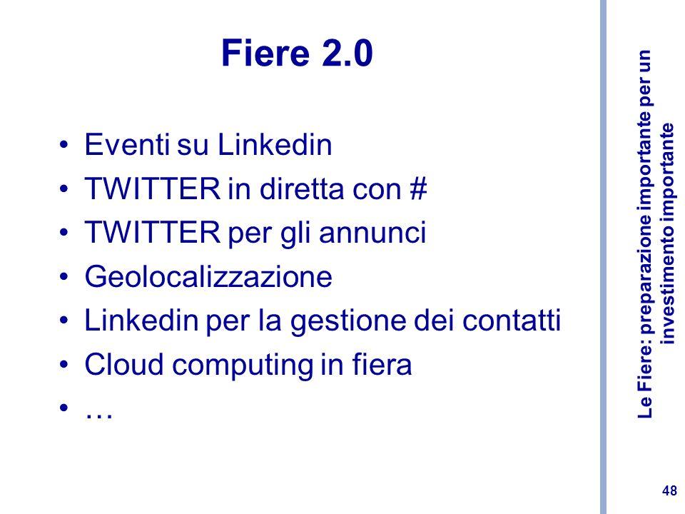 Fiere 2.0 Eventi su Linkedin TWITTER in diretta con #