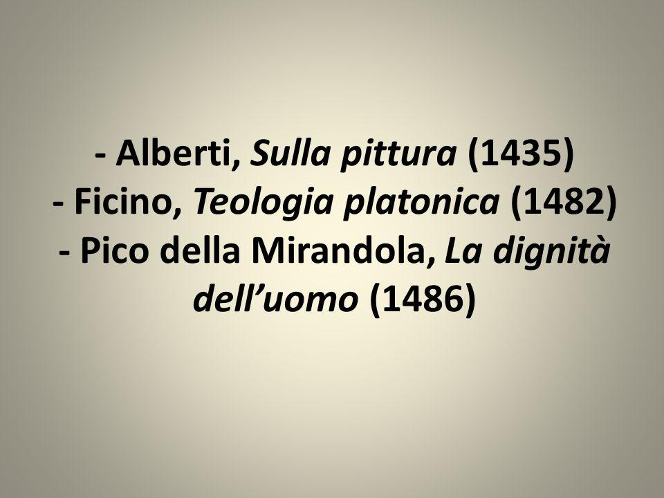 - Alberti, Sulla pittura (1435) - Ficino, Teologia platonica (1482) - Pico della Mirandola, La dignità dell'uomo (1486)