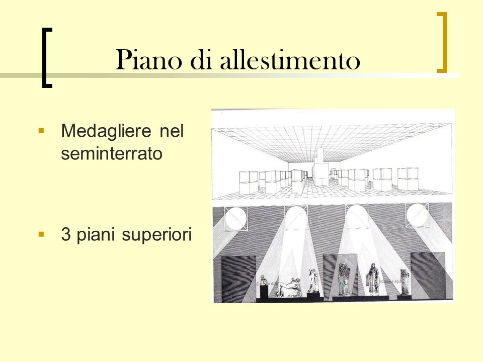 Piano di allestimento Medagliere nel seminterrato 3 piani superiori