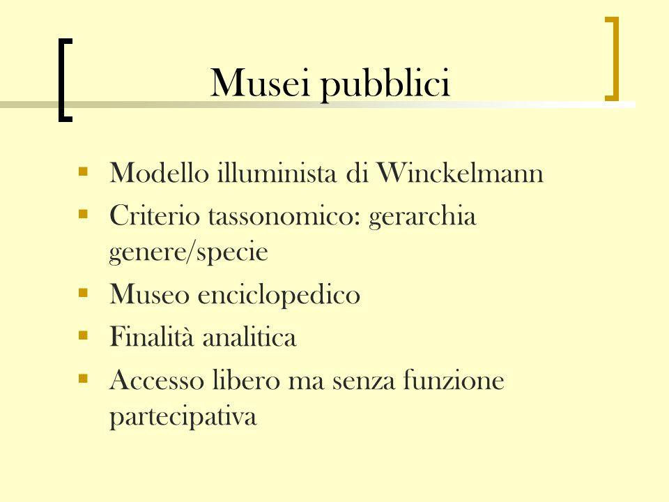 Musei pubblici Modello illuminista di Winckelmann