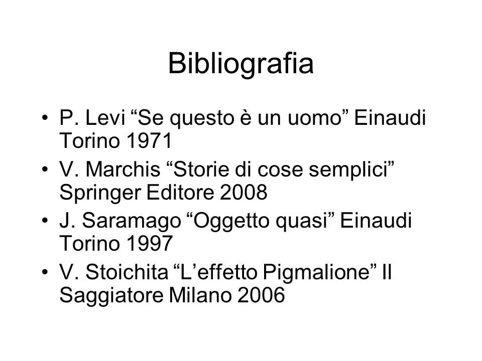 Bibliografia P. Levi Se questo è un uomo Einaudi Torino 1971