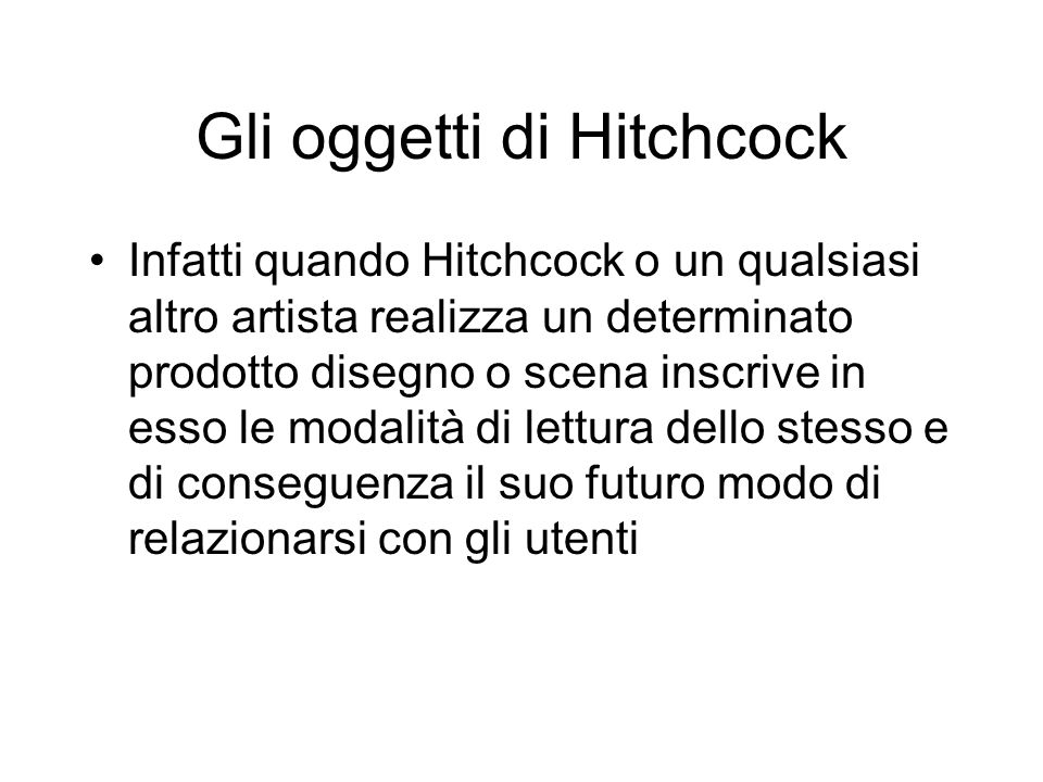Gli oggetti di Hitchcock