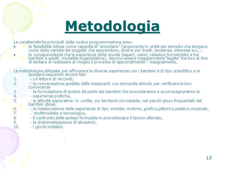 Metodologia Le caratteristiche principali della nostra programmazione sono: