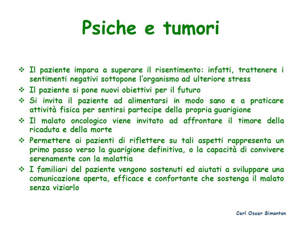 Psiche e tumori Il paziente impara a superare il risentimento: infatti, trattenere i sentimenti negativi sottopone l'organismo ad ulteriore stress.