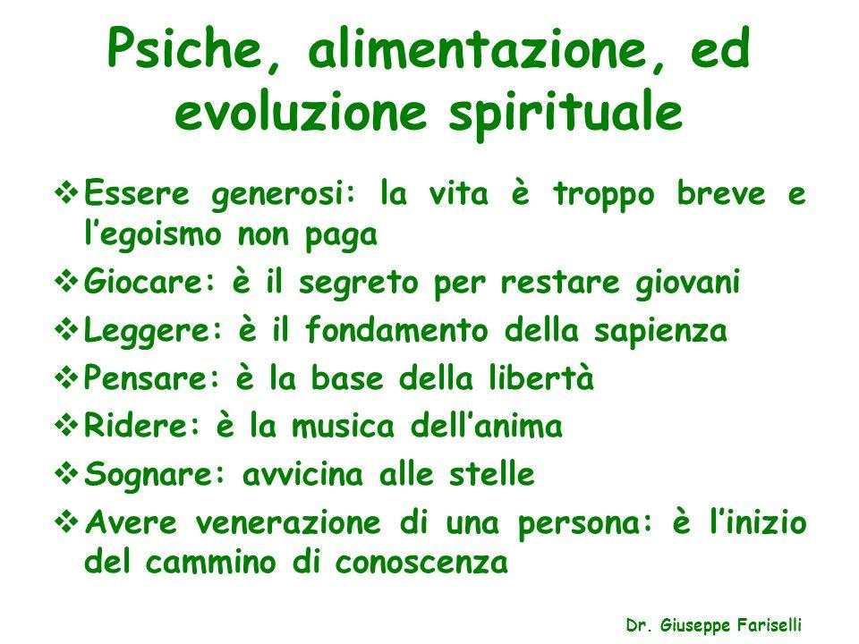 Psiche, alimentazione, ed evoluzione spirituale