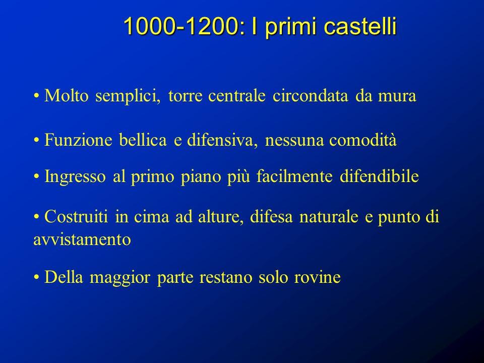 1000-1200: I primi castelli Molto semplici, torre centrale circondata da mura. Funzione bellica e difensiva, nessuna comodità.
