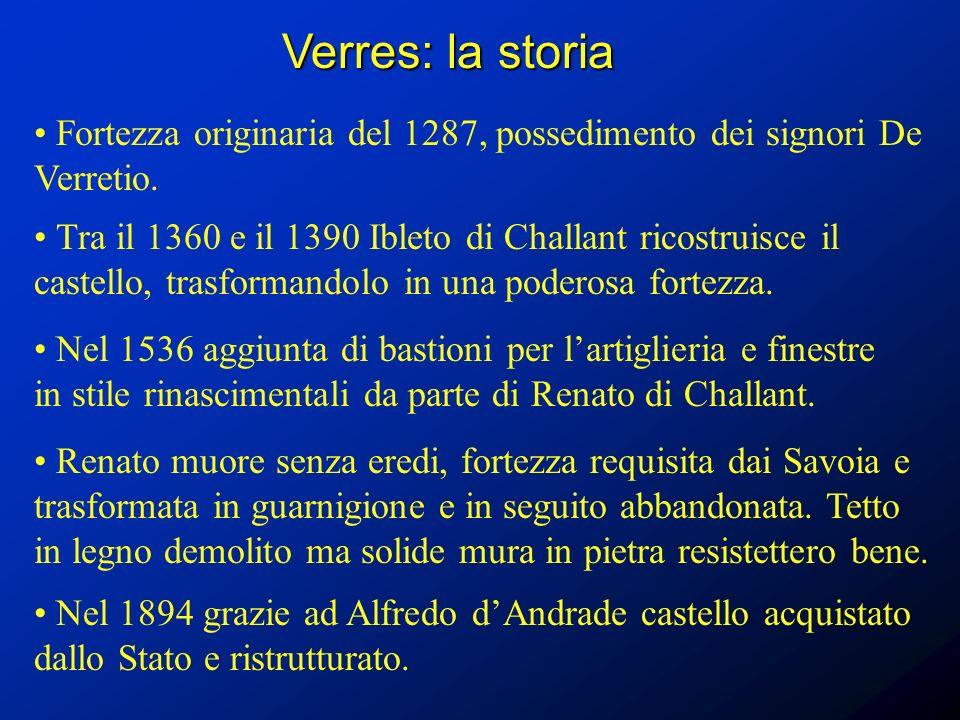 Verres: la storia Fortezza originaria del 1287, possedimento dei signori De Verretio.
