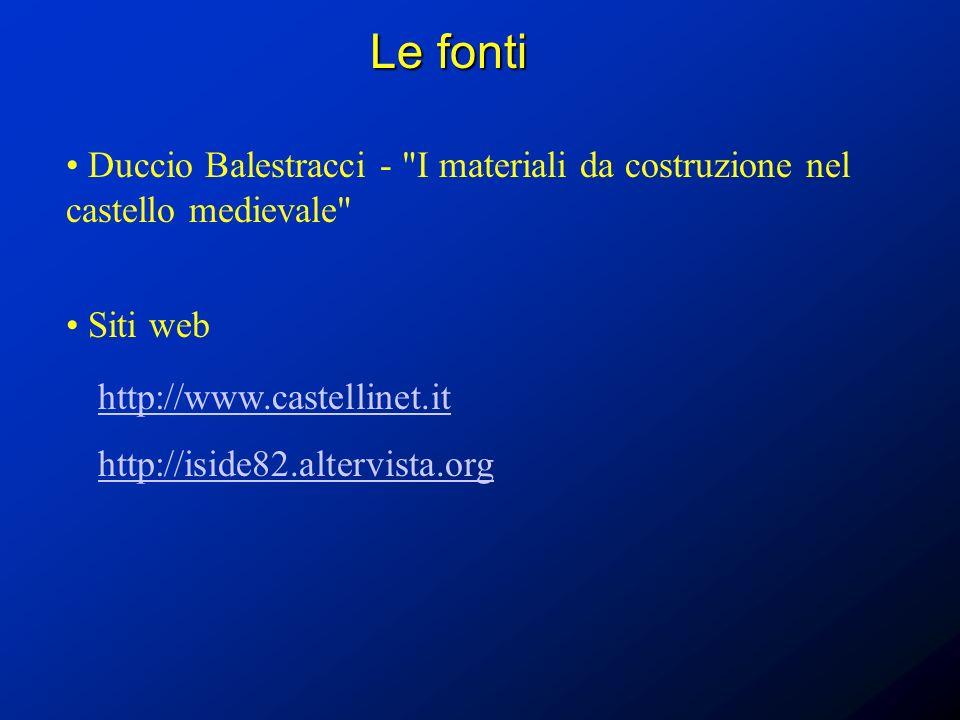 Le fonti Duccio Balestracci - I materiali da costruzione nel castello medievale Siti web. http://www.castellinet.it.