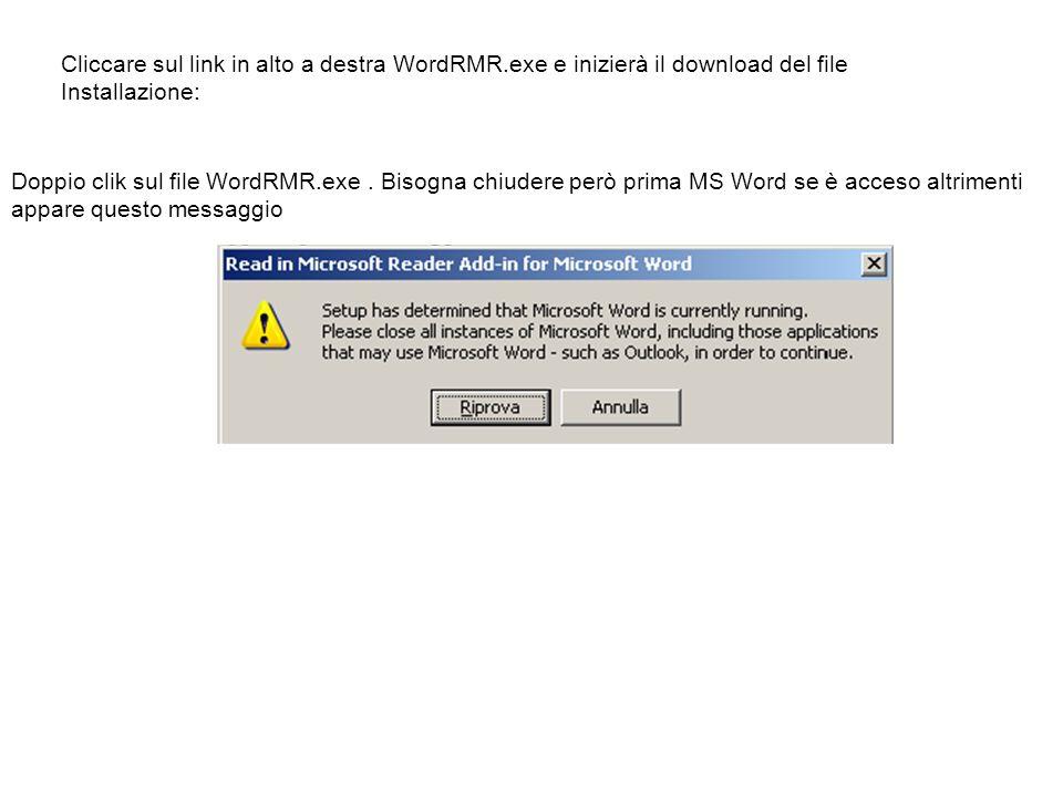 Cliccare sul link in alto a destra WordRMR