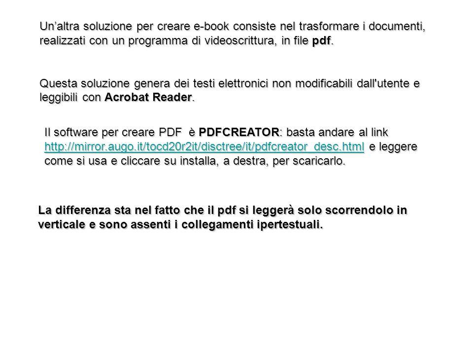 Un'altra soluzione per creare e-book consiste nel trasformare i documenti, realizzati con un programma di videoscrittura, in file pdf.