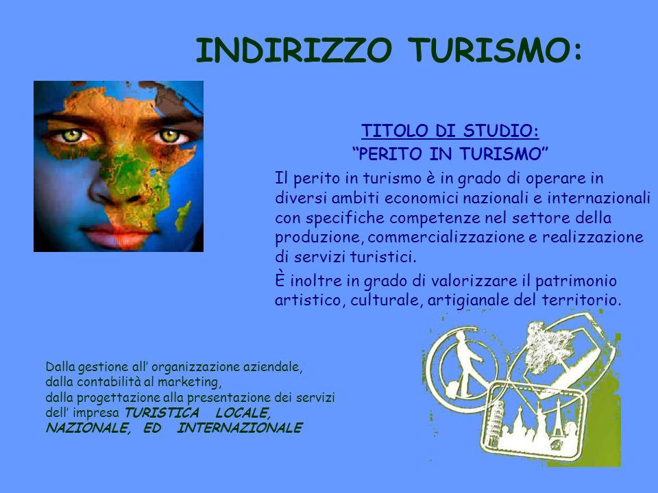 INDIRIZZO TURISMO: TITOLO DI STUDIO: PERITO IN TURISMO