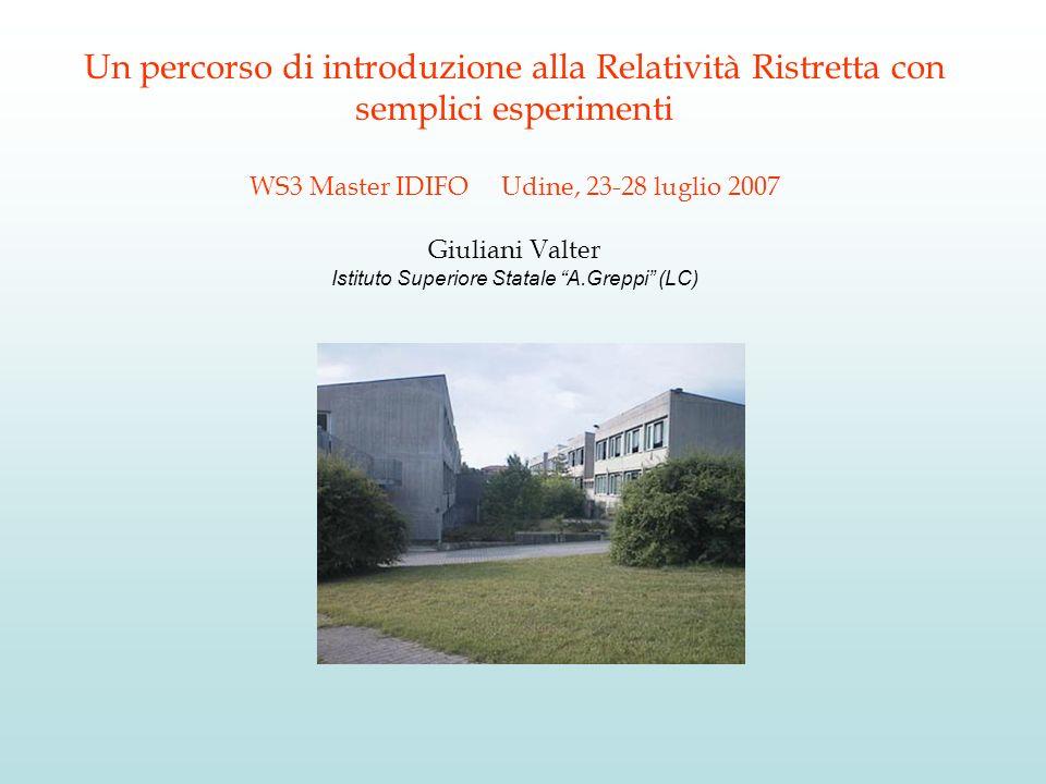 Un percorso di introduzione alla Relatività Ristretta con semplici esperimenti WS3 Master IDIFO Udine, 23-28 luglio 2007 Giuliani Valter Istituto Superiore Statale A.Greppi (LC)