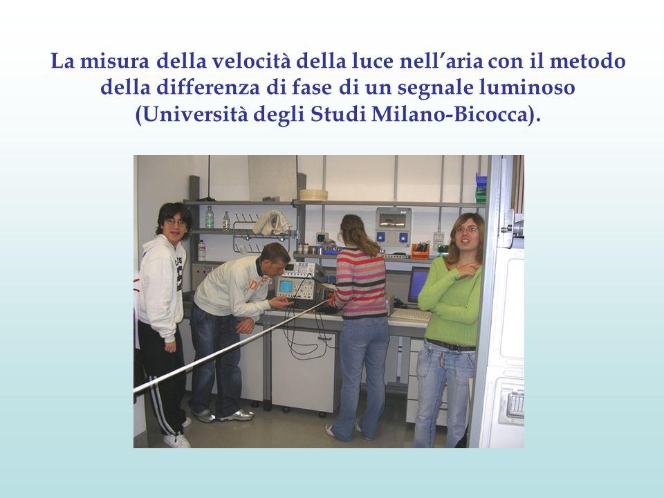 La misura della velocità della luce nell'aria con il metodo della differenza di fase di un segnale luminoso (Università degli Studi Milano-Bicocca).
