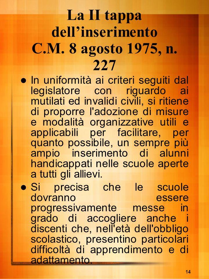 La II tappa dell'inserimento C.M. 8 agosto 1975, n. 227