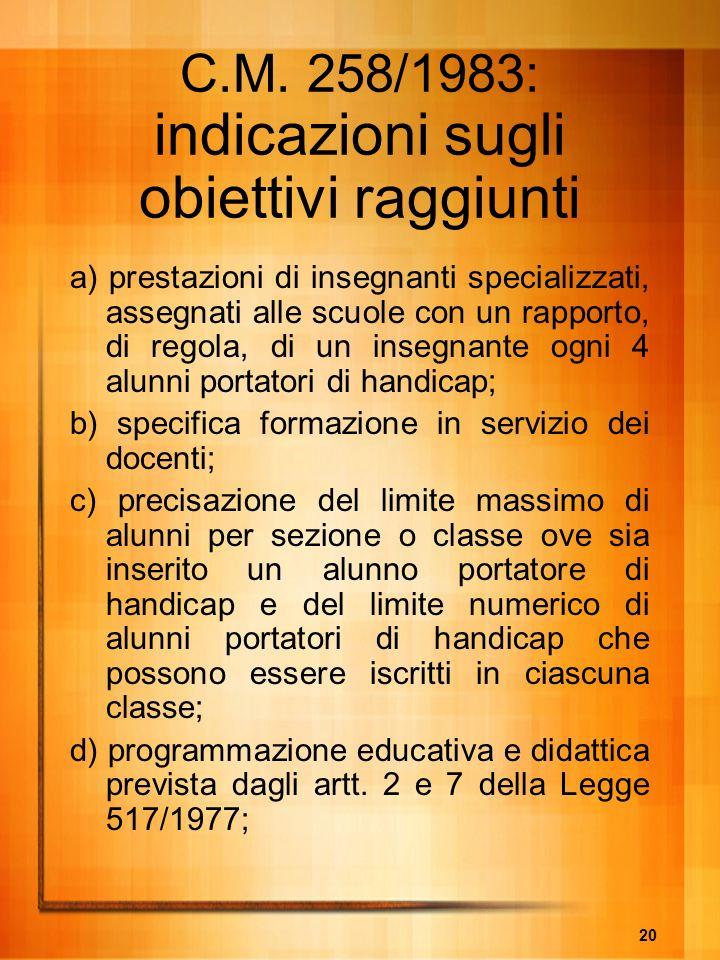 C.M. 258/1983: indicazioni sugli obiettivi raggiunti