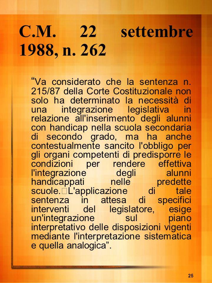 C.M. 22 settembre 1988, n. 262