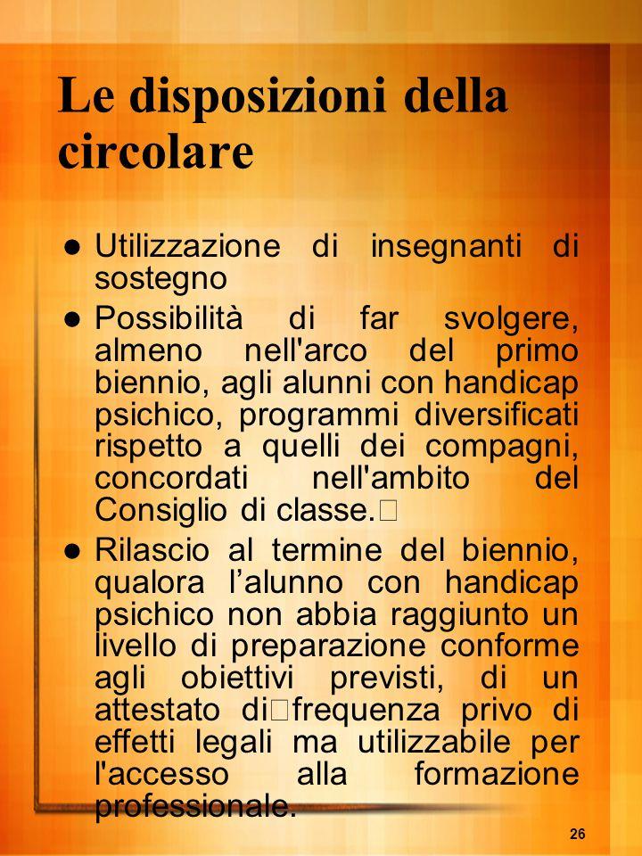 Le disposizioni della circolare