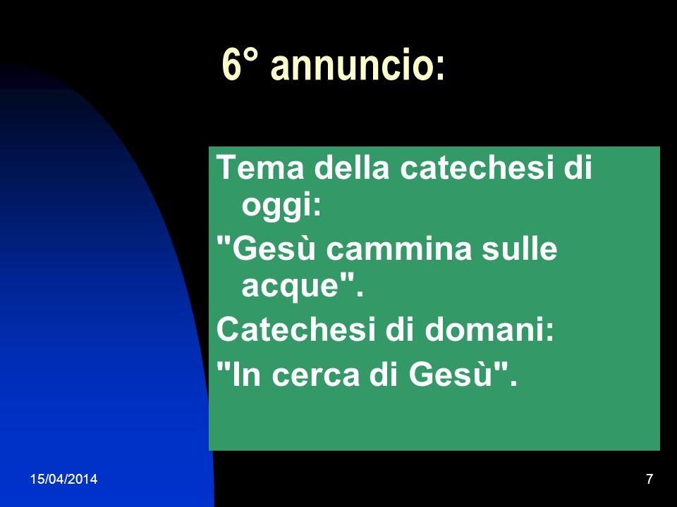 6° annuncio: Tema della catechesi di oggi: Gesù cammina sulle acque .