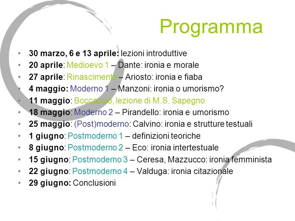 Programma 30 marzo, 6 e 13 aprile: lezioni introduttive