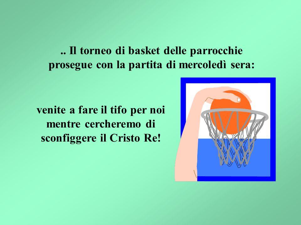 .. Il torneo di basket delle parrocchie prosegue con la partita di mercoledì sera: