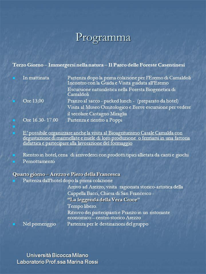 Università Bicocca Milano Laboratorio Prof.ssa Marina Rossi