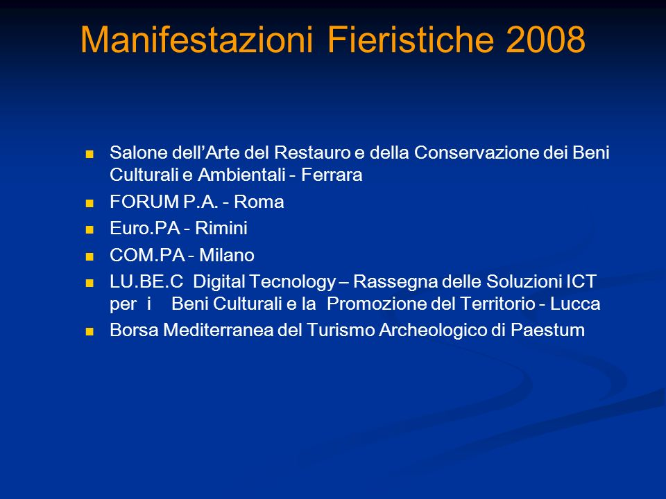 Manifestazioni Fieristiche 2008