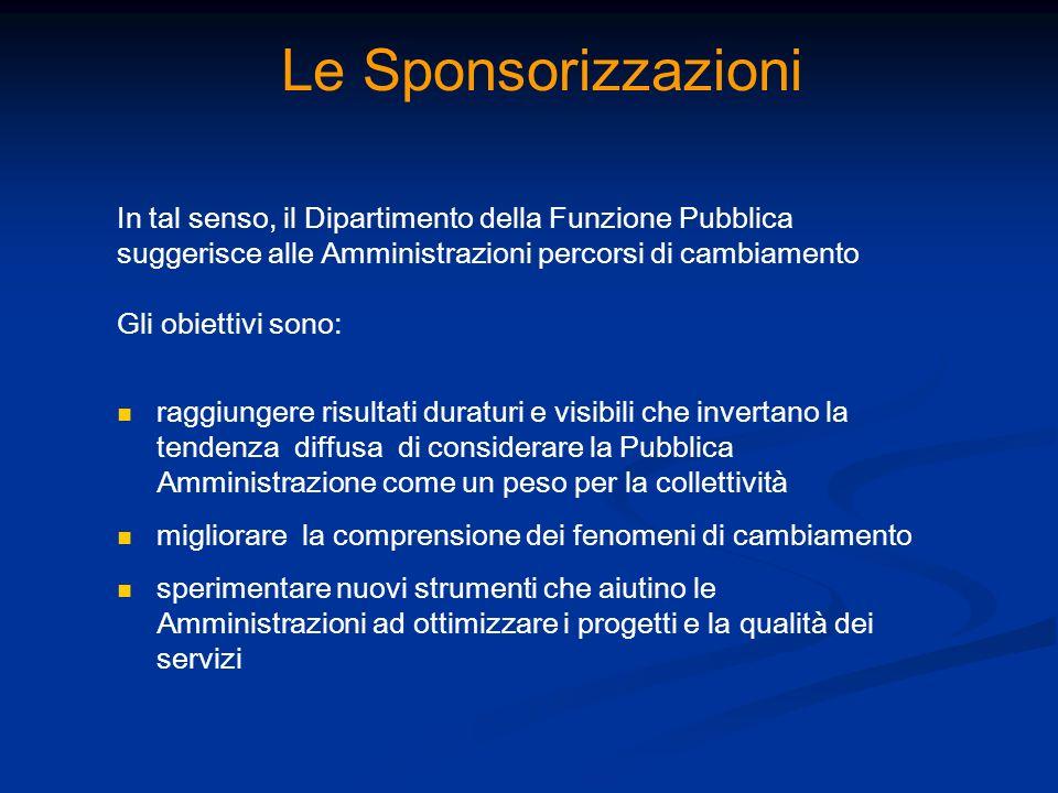 Le Sponsorizzazioni In tal senso, il Dipartimento della Funzione Pubblica. suggerisce alle Amministrazioni percorsi di cambiamento.