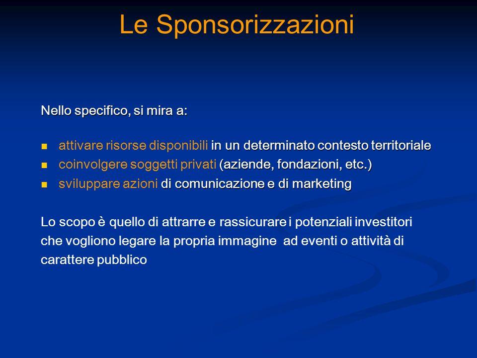 Le Sponsorizzazioni Nello specifico, si mira a:
