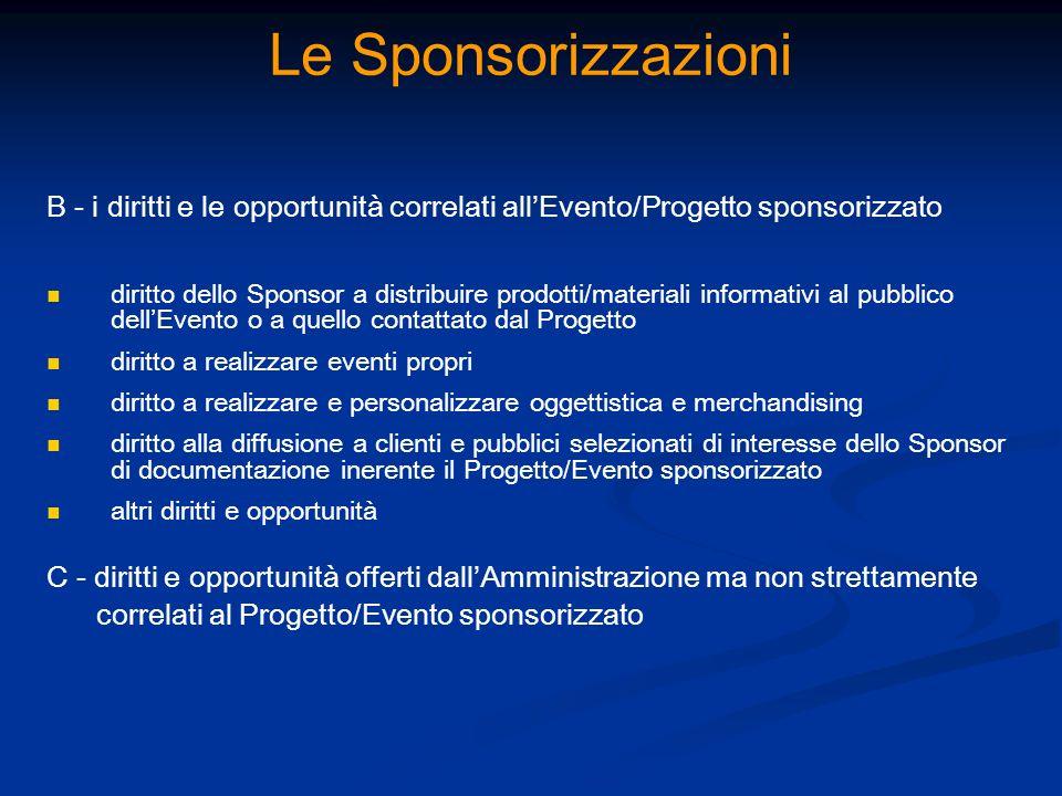 Le Sponsorizzazioni B - i diritti e le opportunità correlati all'Evento/Progetto sponsorizzato.