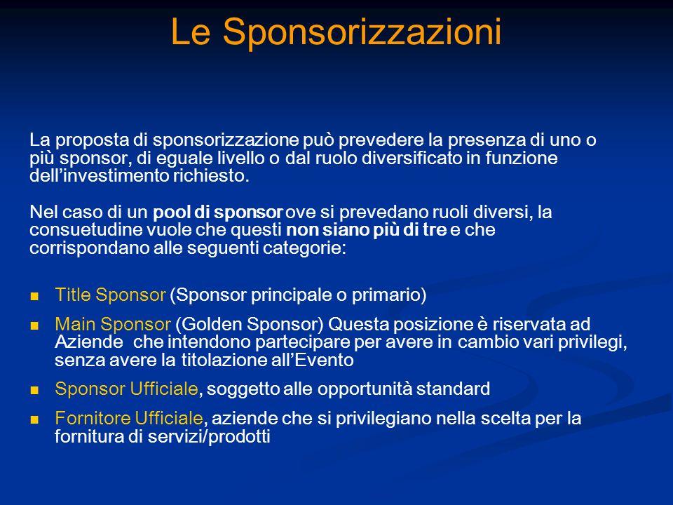 Le Sponsorizzazioni La proposta di sponsorizzazione può prevedere la presenza di uno o.