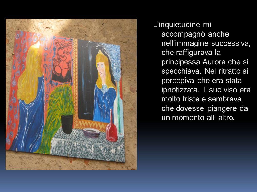 L'inquietudine mi accompagnò anche nell'immagine successiva, che raffigurava la principessa Aurora che si specchiava.