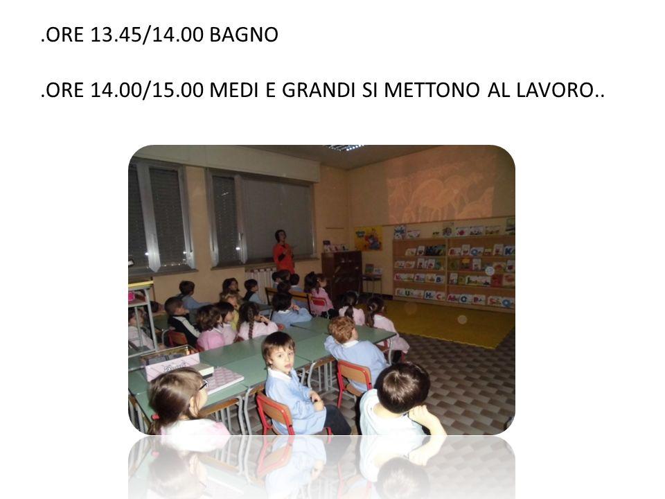 .ORE 13.45/14.00 BAGNO .ORE 14.00/15.00 MEDI E GRANDI SI METTONO AL LAVORO..