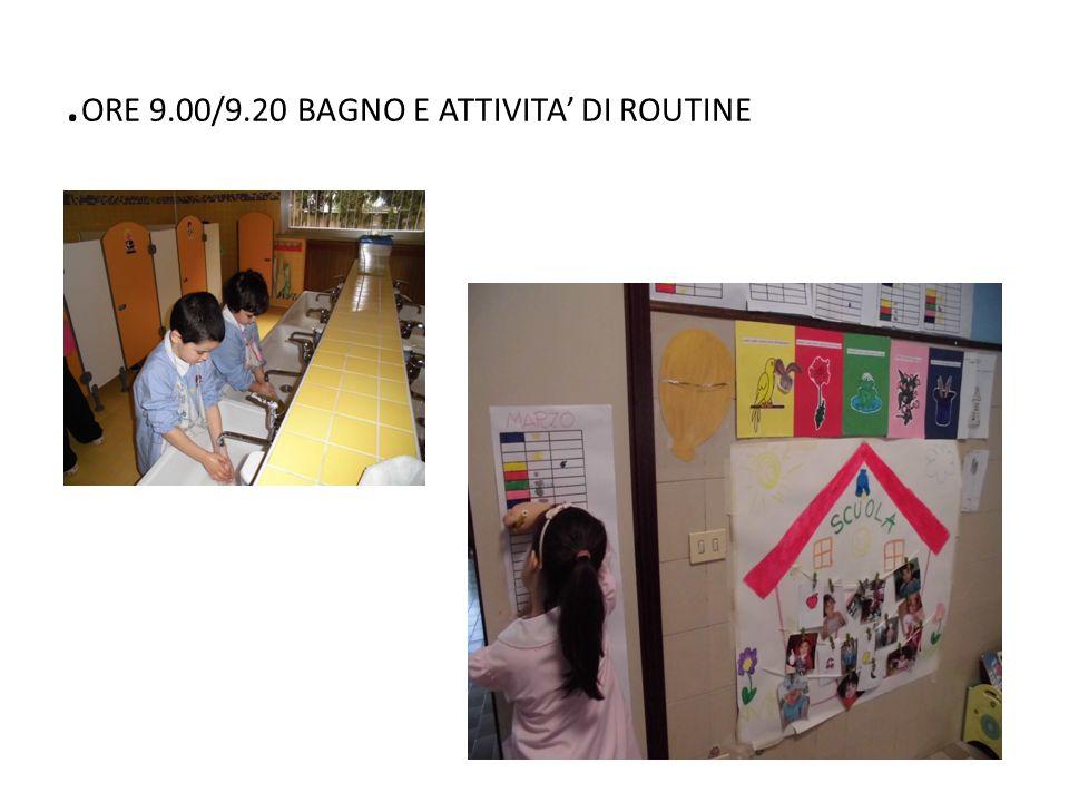 .ORE 9.00/9.20 BAGNO E ATTIVITA' DI ROUTINE