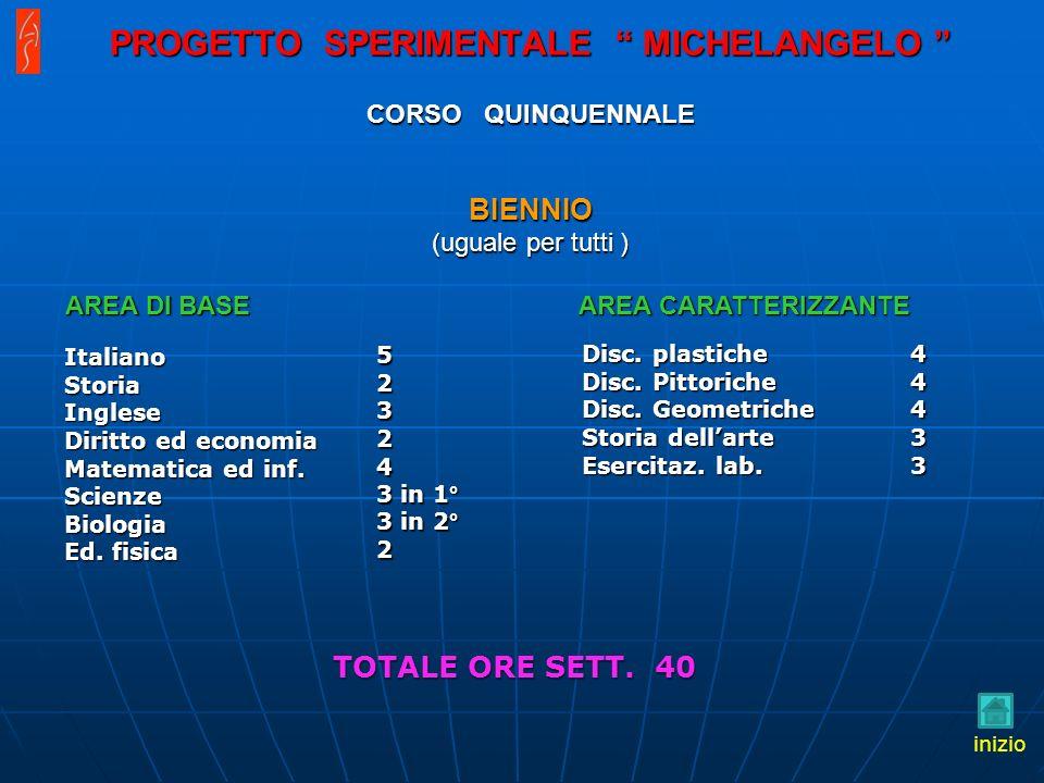 PROGETTO SPERIMENTALE MICHELANGELO CORSO QUINQUENNALE BIENNIO (uguale per tutti )