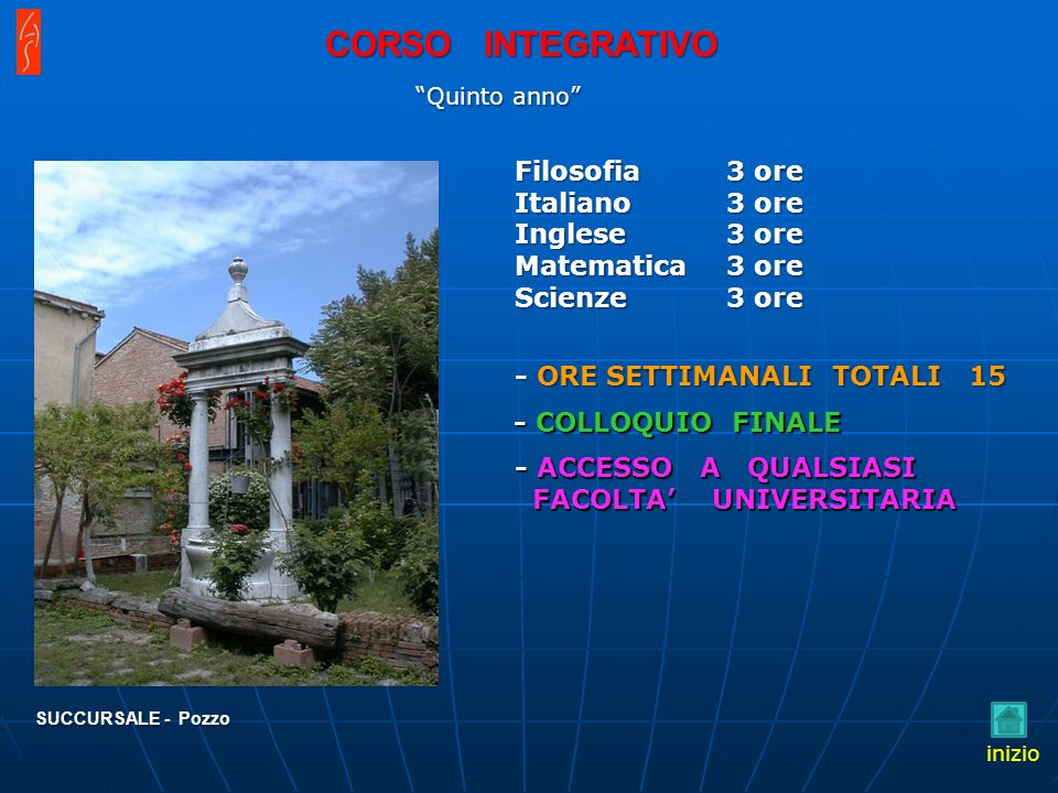CORSO INTEGRATIVO Filosofia Italiano Inglese Matematica Scienze