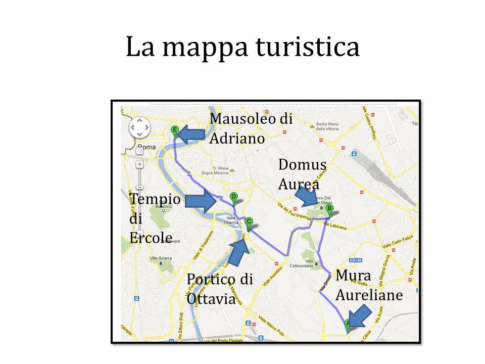 La mappa turistica Mausoleo di Adriano Domus Aurea Tempio di Ercole
