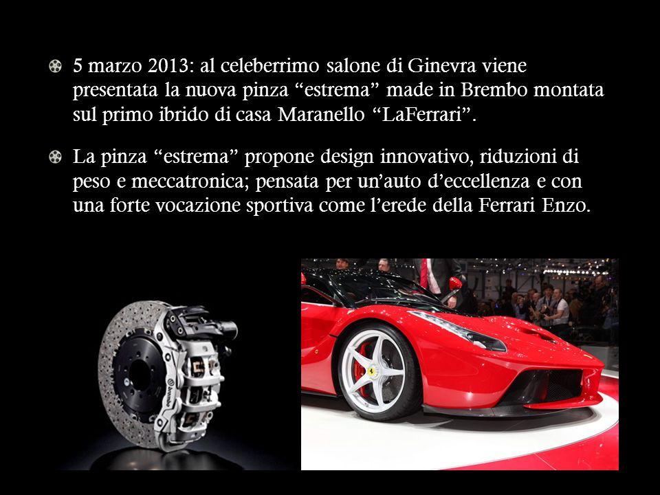 5 marzo 2013: al celeberrimo salone di Ginevra viene presentata la nuova pinza estrema made in Brembo montata sul primo ibrido di casa Maranello LaFerrari .