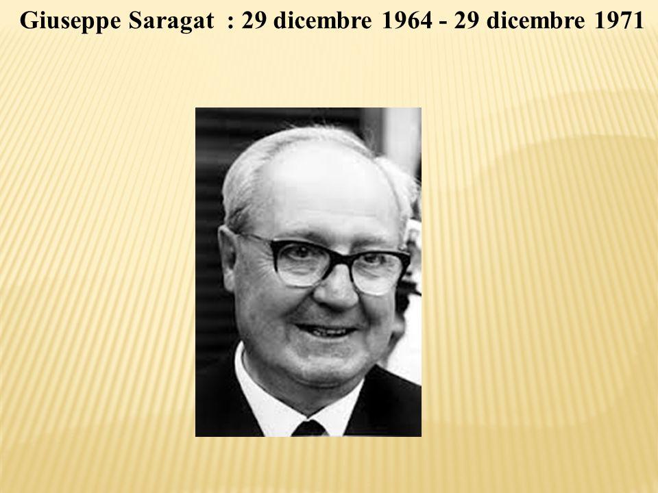 Giuseppe Saragat : 29 dicembre 1964 - 29 dicembre 1971