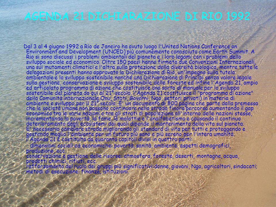 AGENDA 21 DICHIARAZIONE DI RIO 1992