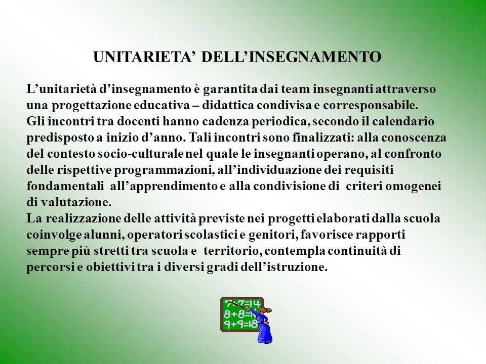 UNITARIETA' DELL'INSEGNAMENTO