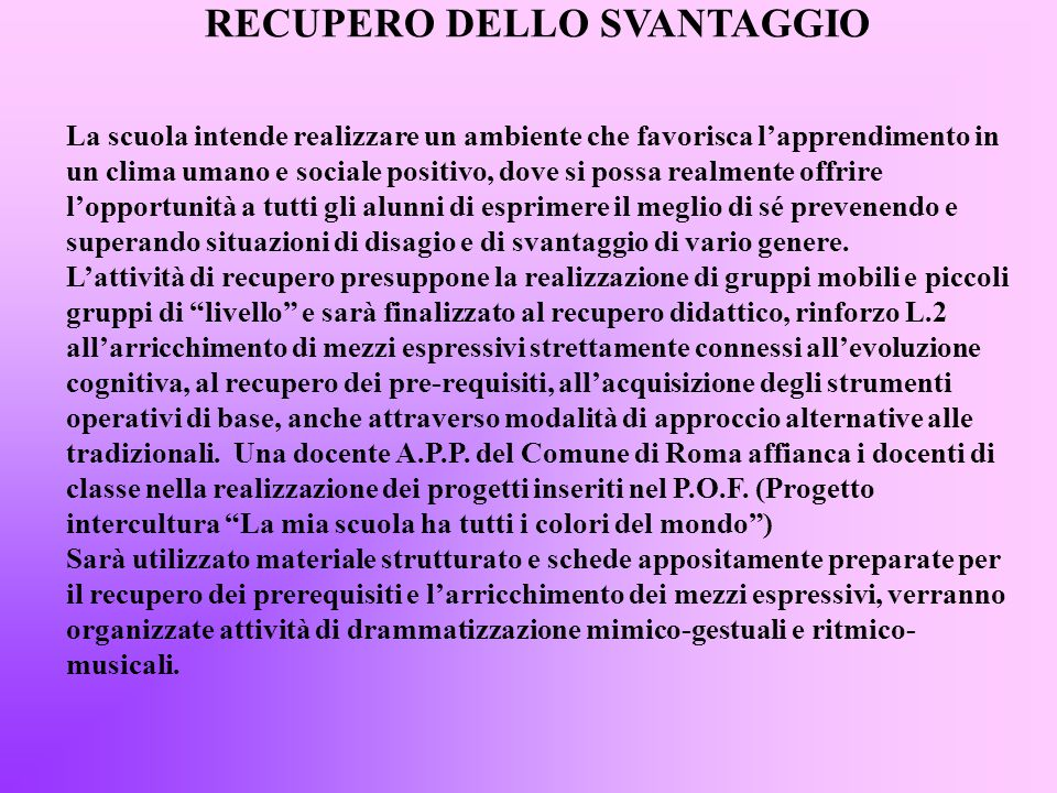 RECUPERO DELLO SVANTAGGIO