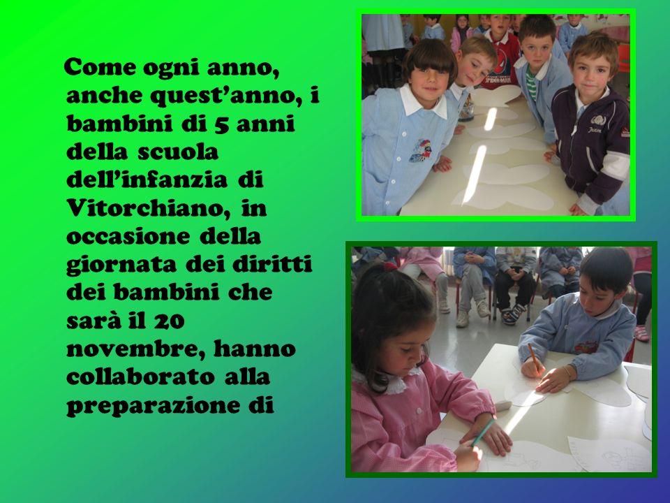 Come ogni anno, anche quest'anno, i bambini di 5 anni della scuola dell'infanzia di Vitorchiano, in occasione della giornata dei diritti dei bambini che sarà il 20 novembre, hanno collaborato alla preparazione di