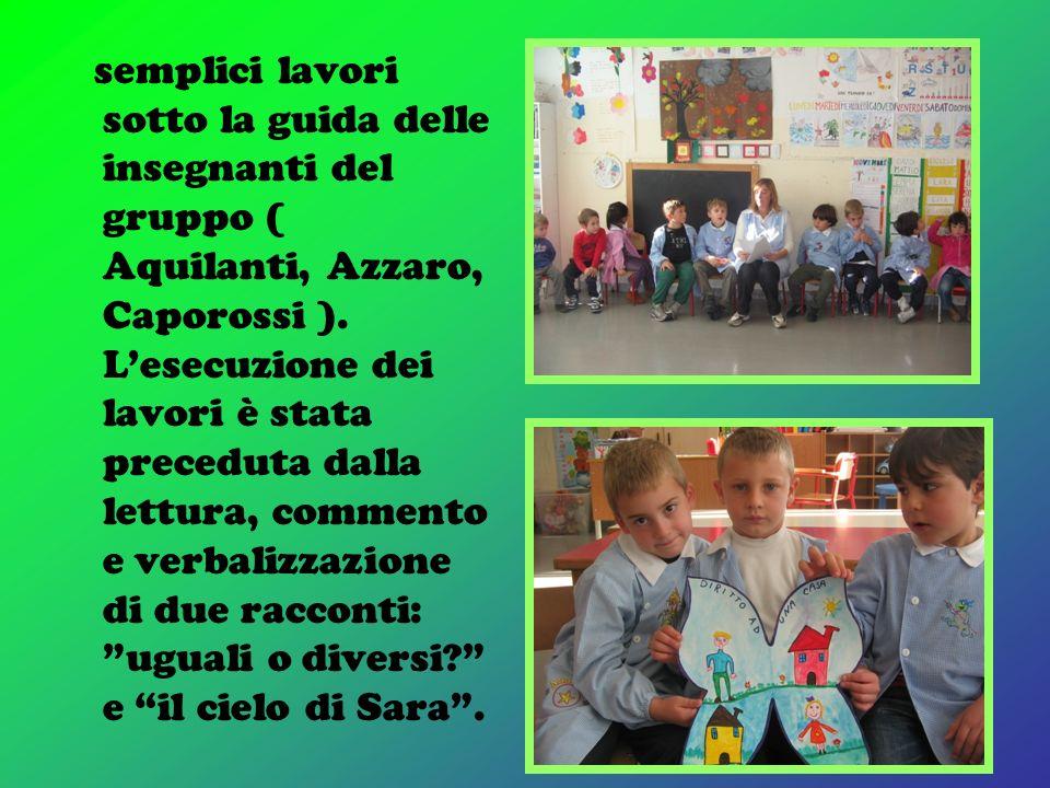 semplici lavori sotto la guida delle insegnanti del gruppo ( Aquilanti, Azzaro, Caporossi ).