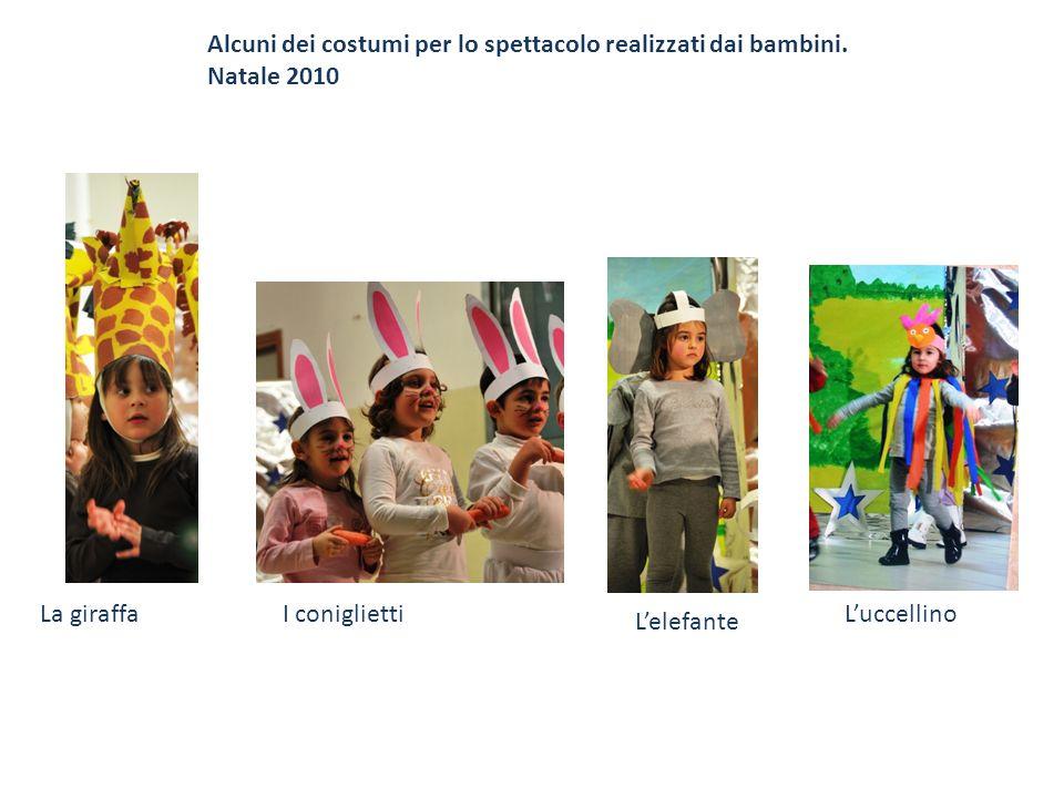 Alcuni dei costumi per lo spettacolo realizzati dai bambini.