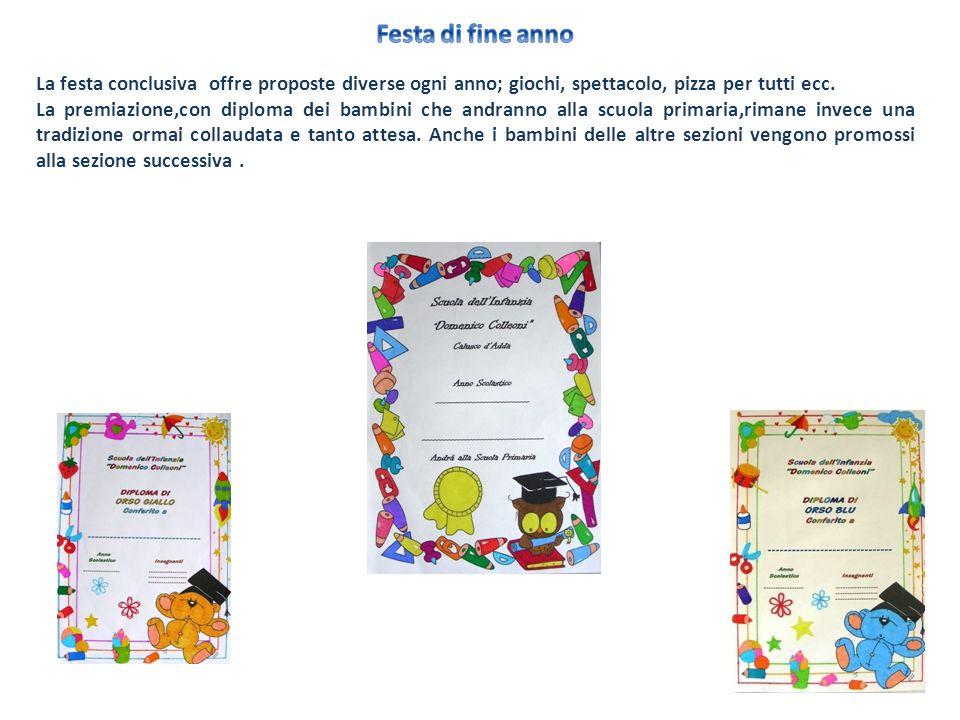 Festa di fine anno La festa conclusiva offre proposte diverse ogni anno; giochi, spettacolo, pizza per tutti ecc.