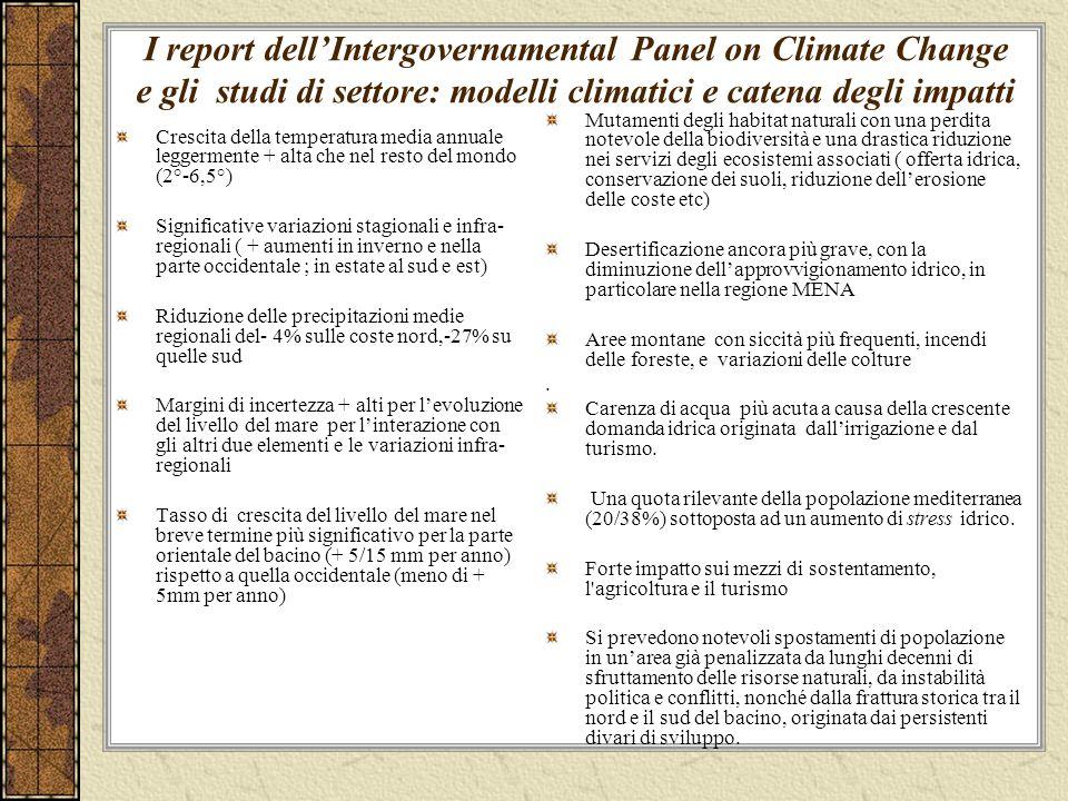 I report dell'Intergovernamental Panel on Climate Change e gli studi di settore: modelli climatici e catena degli impatti