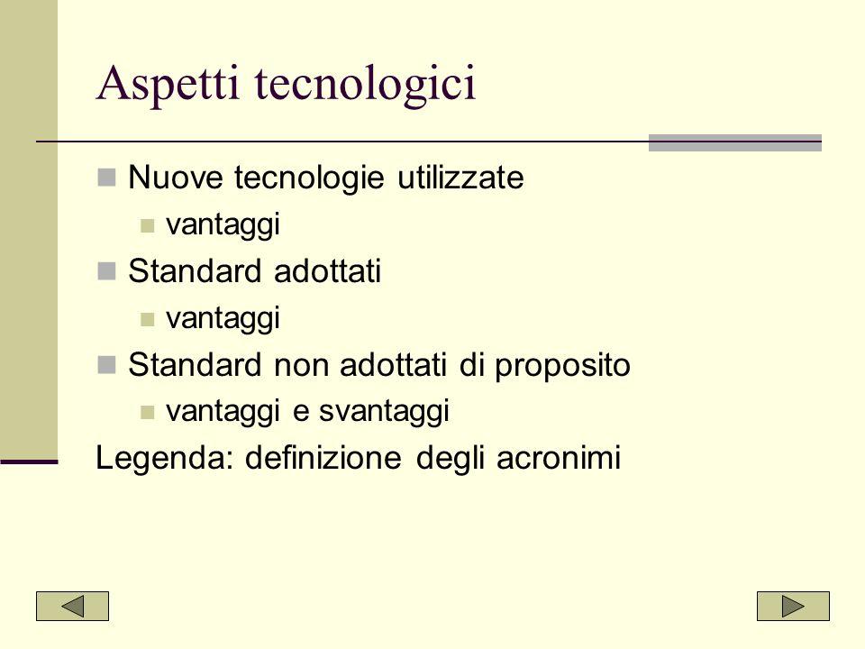 Aspetti tecnologici Nuove tecnologie utilizzate Standard adottati