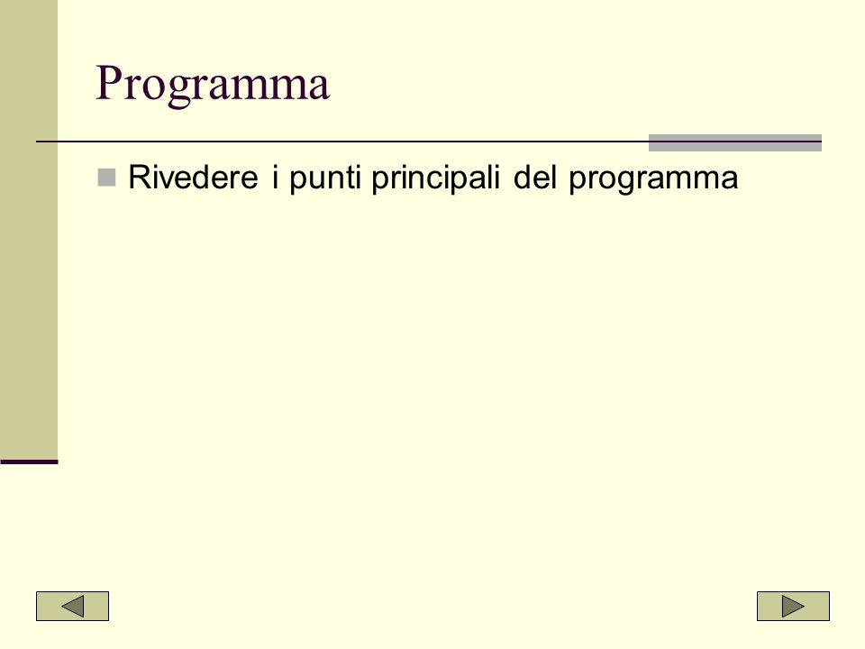 Programma Rivedere i punti principali del programma