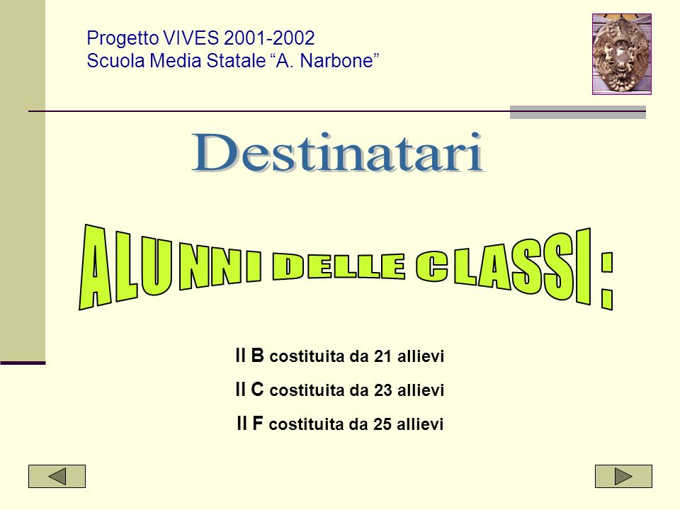 Destinatari Progetto VIVES 2001-2002 Scuola Media Statale A. Narbone
