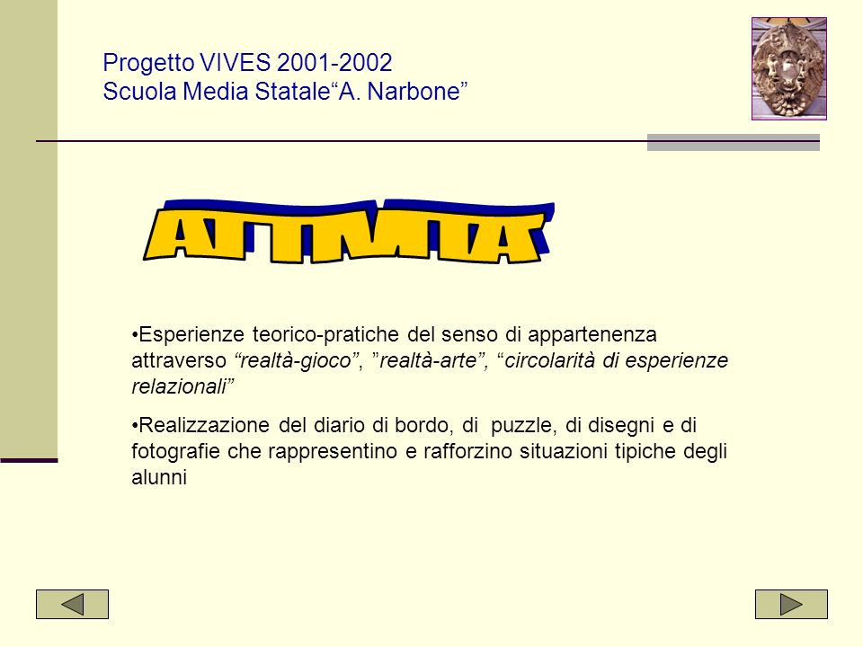 Progetto VIVES 2001-2002 Scuola Media Statale A. Narbone